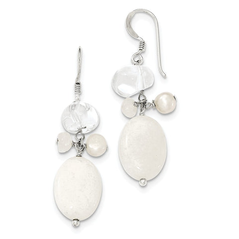 Sterling Silver FW Cultured Pearl/Moonstone/Rock Quartz/White Jade Ear