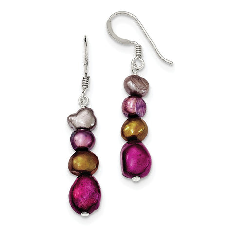 Sterling Silver Browns/Purples FW Cultured Pearl Earrings