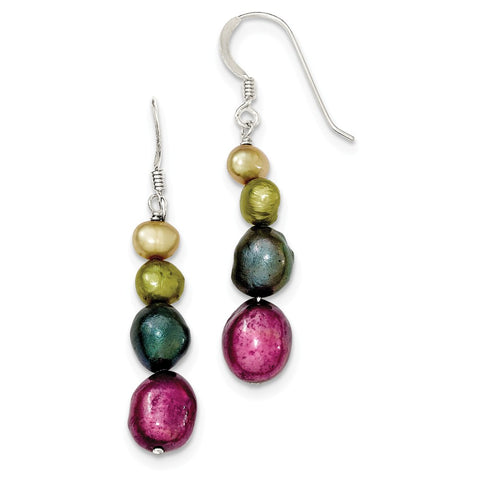 Sterling Silver Multi-Color FW Cultured Pearl Earrings