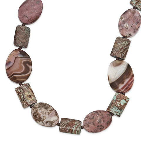 Sterling Silver Autumn, Blue & Crazy Lace Jasper/Sardonyx Necklace
