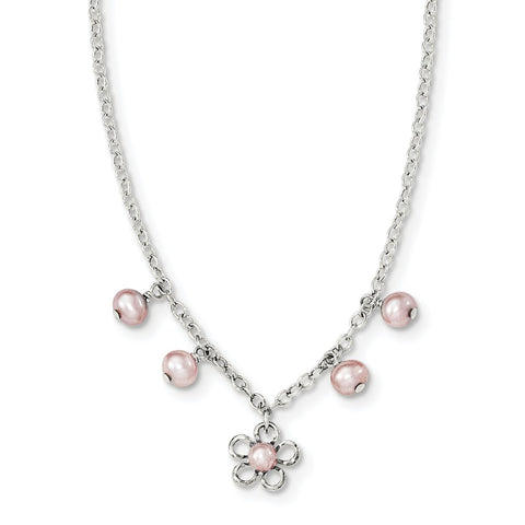 Sterling Silver Madi K Pink FW Cultured Pearl w/Flower Necklace