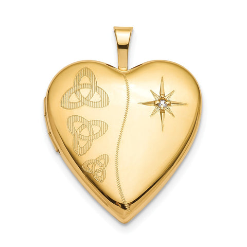 Sterling Silver Gold-plated 20mm Diamond Trinity Heart Locket