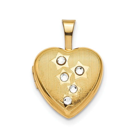 Sterling Silver Gold-plated 12mm Star CZ Heart Locket