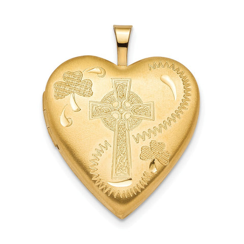 Sterling Silver Gold-plated 20mm Clover & Cross Heart Locket