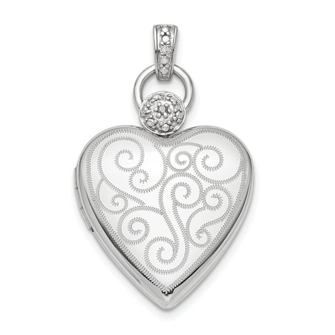 Sterling Silver Rhodium-plate 21mm Diamond Accent Satin Locket