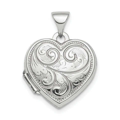 Sterling Silver Rhodium-plated Polished 15mm Heart Patterned Locket