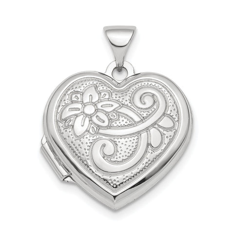 Sterling Silver Rhodium-plated Reversible 18mm Heart Locket Pendant