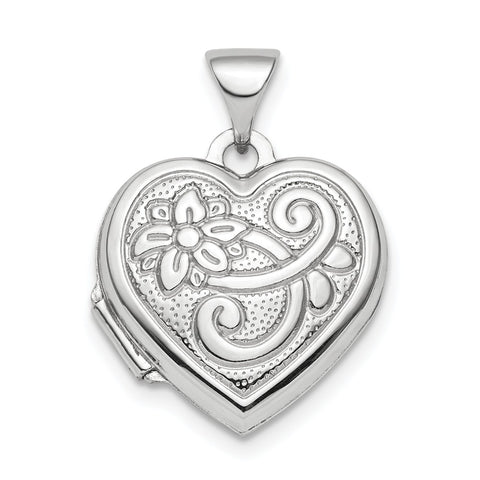 Sterling Silver Rhodium-plated Reversible 15mm Heart Locket Pendant