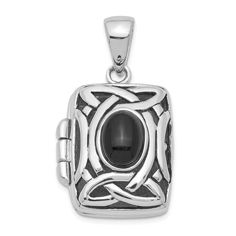 Sterling Silver Rhodium-plated Onyx Locket