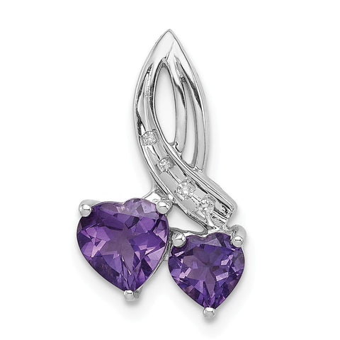 Sterling Silver Rhodium Plated Dia. Amethyst Double Heart Pendant