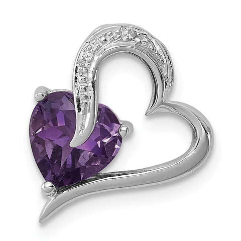 Sterling Silver Rhodium Plated Diamond Amethyst Heart Pendant