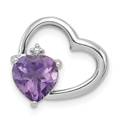 Sterling Silver Rhodium Plated Diamond & Amethyst Heart Pendant