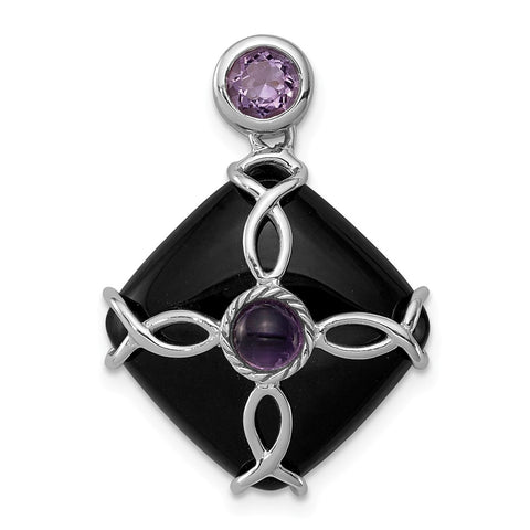Sterling Silver Rhodium-plated w/Black Agate & Amethyst Pendant
