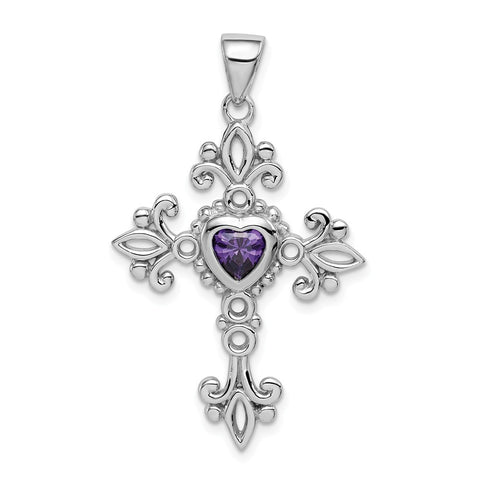 Sterling Silver Rhodium-plated w/Amethyst Cross Pendant