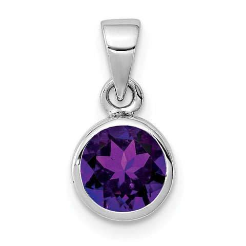 Sterling Silver Rhodium-plated Polished Amethyst Round Pendant