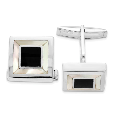 Sterling Silver Rhodium-plated Mother Of Pearl & Enamel Cufflinks