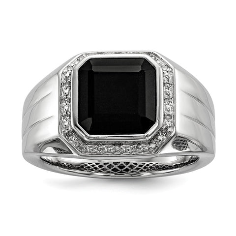 Sterling Silver Rhod Plated Diamond & Black Onyx Square Men's Ring