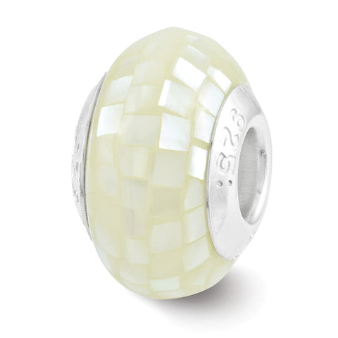Sterling Silver Reflections White Mother of Pearl Mosaic Bead