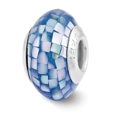 Sterling Silver Reflections Blue Mother of Pearl Mosaic Bead