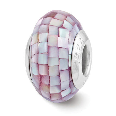 Sterling Silver Reflections Purple Mother of Pearl Mosaic Bead