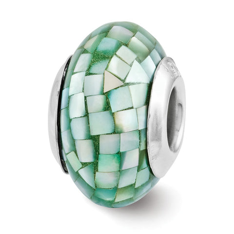 Sterling Silver Reflections Green Mother of Pearl Mosaic Bead