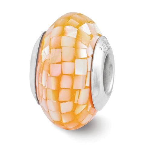 Sterling Silver Reflections Light Orange Mother of Pearl Mosaic Bead