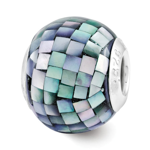 Sterling Silver Reflections Black Mother of Pearl Mosaic Bead