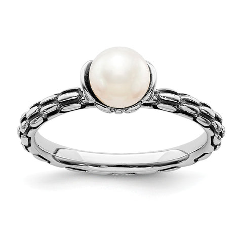 Sterling Silver Stack Exp. Polished Patterned White FW Cultured Pearl Ring