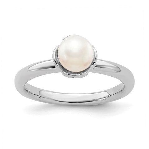 Sterling Silver Stack Exp. Polished White FW Cultured Pearl Ring