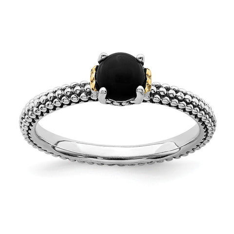 Sterling Silver & 14k Stackable Expressions Onyx Antiqued Ring