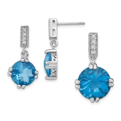 Sterling Silver Rhodium-plated Blue & Clear CZ Pendant & Earring Set