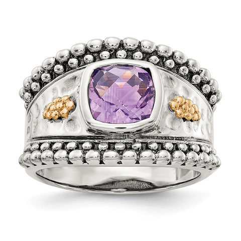 Sterling Silver w/14k Amethyst Ring