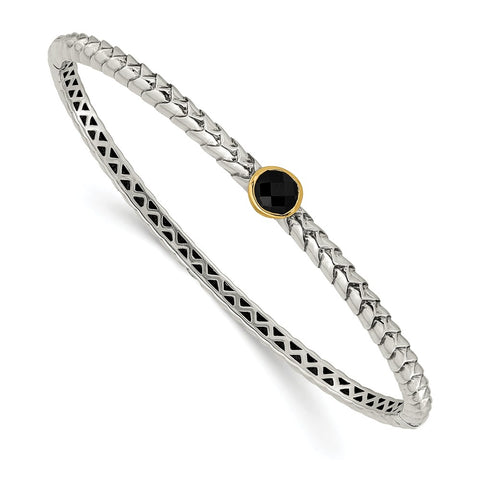 Sterling Silver w/14k Antiqued 6mm Onyx Bangle Bracelet