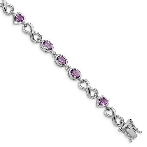 Sterling Silver Rhodium-plated Oval Heart Amethyst Bracelet