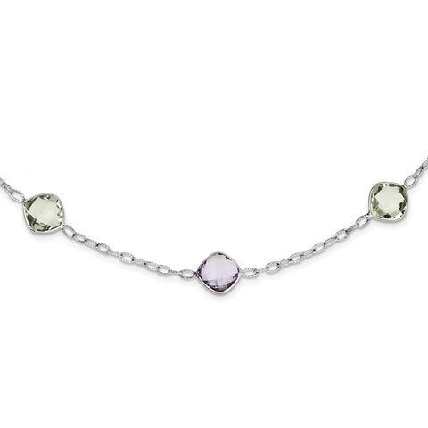Sterling Silver Rhodium-plated 18in. Amethyst & Green Quartz Necklace