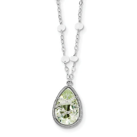 Sterling Silver Rhodium Green Quartz & Rnbow Moonstone 18in Necklace