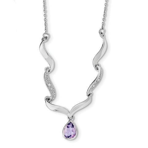 Sterling Silver Rhodium-plated w/Amethyst & White Topaz w/2in. ext. Necklac