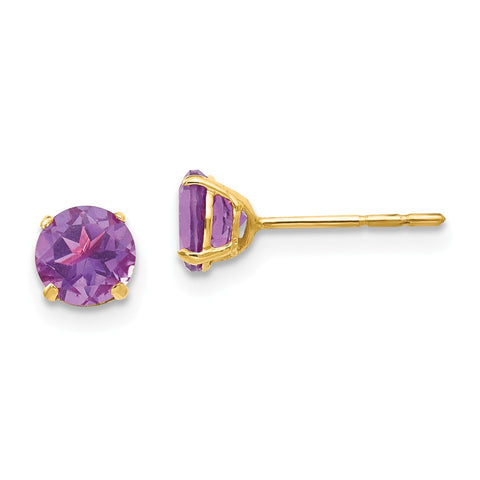 14k Madi K Round Amethyst 5mm Post Earrings