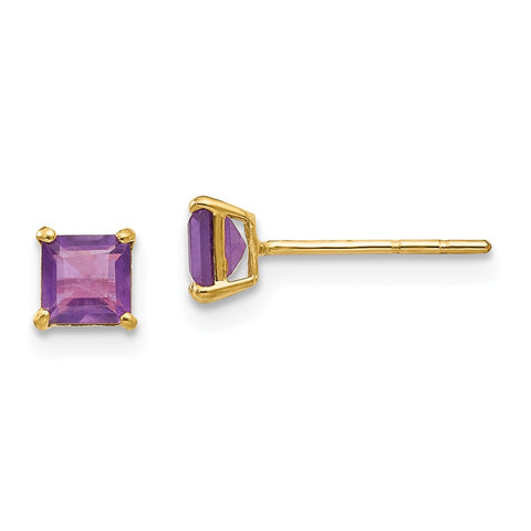 14k Madi K Amethyst 4mm Square Post Earrings