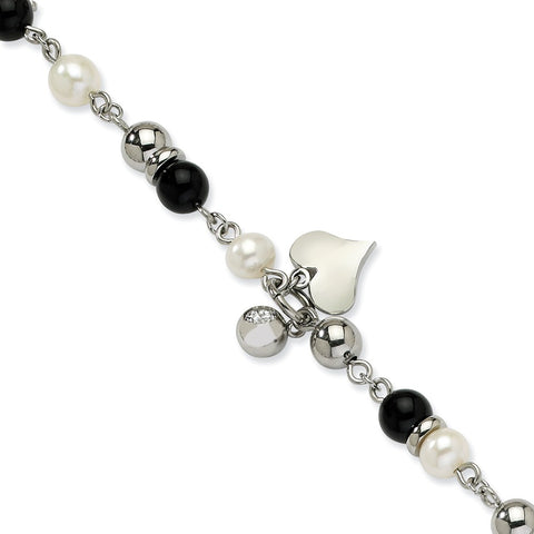 Stainless Steel Onyx/FW Cultured Pearl/Crystal 8in Bracelet