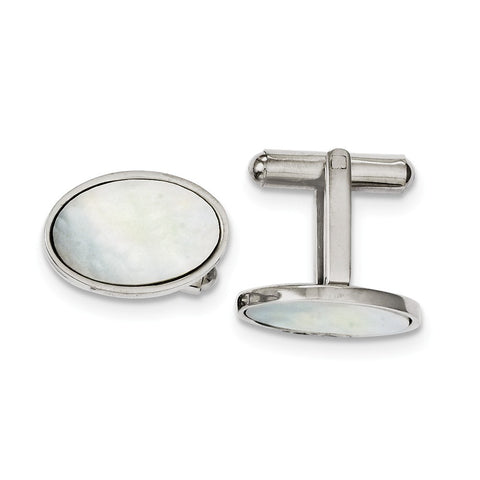 Stainless Steel Mother of Pearl Polished Cufflinks
