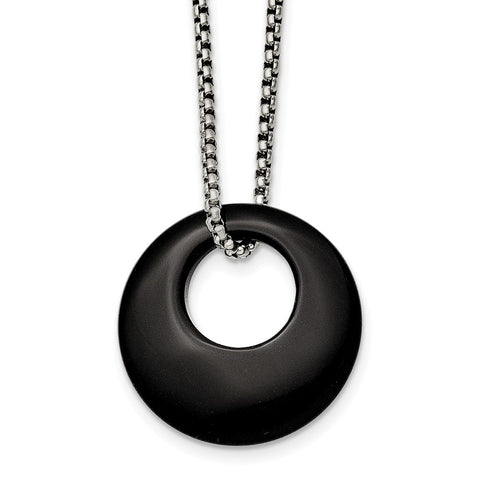 Stainless Steel Black Onyx Large Circular Polished Necklace
