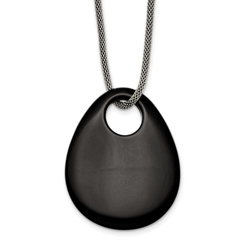 Stainless Steel Black Onyx Large Teardrop Polished Necklace