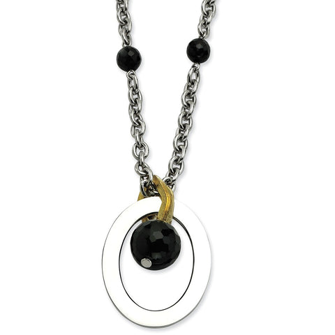Stainless Steel Black Onyx & Yellow IP-plated with 2 inch ext Necklace