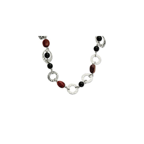 Stainless Steel Textured Ovals, Onyx & Ocean Stone Necklace