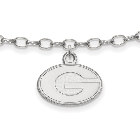 Sterling Silver Rh-plated LogoArt University of Georgia Anklet