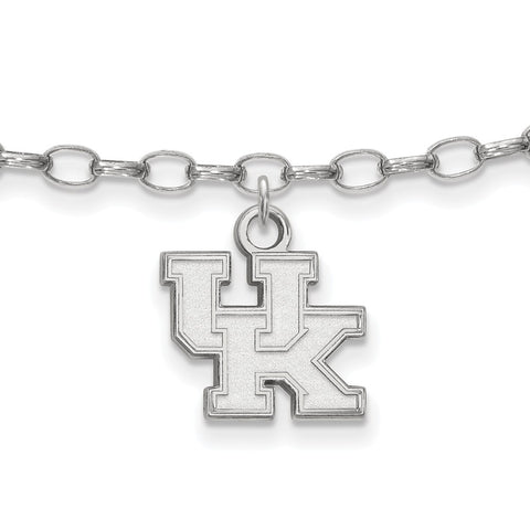 Sterling Silver Rh-plated LogoArt University of Kentucky Anklet