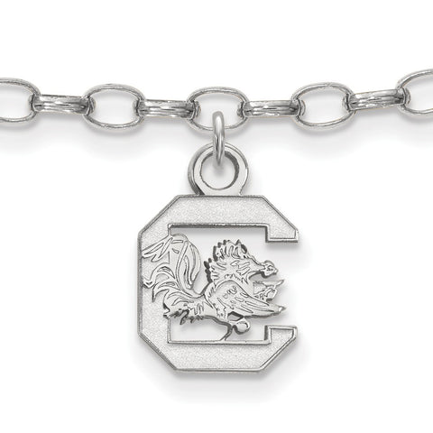 Sterling Silver Rh-plated LogoArt University of South Carolina Anklet