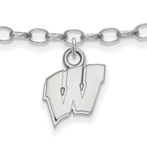 Sterling Silver Rh-plated LogoArt University of Wisconsin Anklet