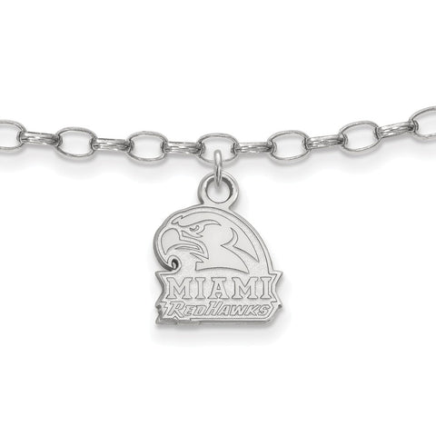 Sterling Silver Rh-plated LogoArt Miami University Anklet